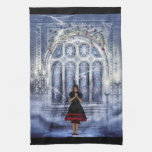 Kitchen Towel with Gothic Girl in Church