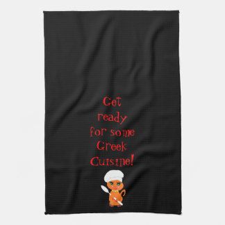Kitchen Towel With Greek Kitty Kat Chef