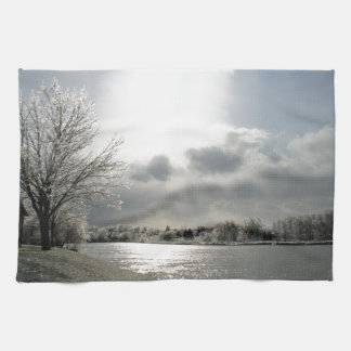 kitchen towel with photo of icy winter landscape
