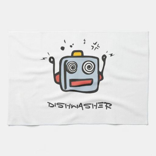 kitchen towel with robot icon