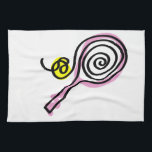 """Kitchen towel with tennis print<br><div class=""""desc"""">Kitchen towel with tennis print. Pink tennis racket design with yellow tennis ball. Cute Birthday gift idea for girl,  mom,  sister,  wife,  partner,  aunt,  grandma,  coach,  trainer etc.</div>"""