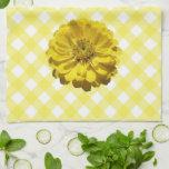 Kitchen Towel - Yellow Zinnia on Lattice