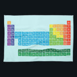 """Kitchen Towels<br><div class=""""desc"""">Kitchen Towel featuring periodic table of the elements,  with each element group marked in rainbow colours.</div>"""