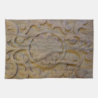 Kitchen Towels Antique Teak Wood Scroll Texture