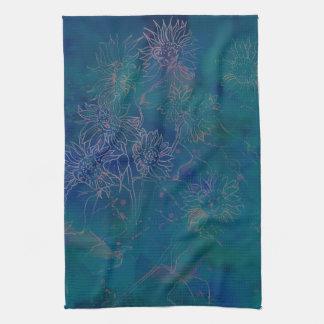 Kitchen Towels--Watercolor Abstract in Aqua