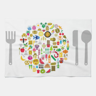 Kitchen Towels with food and drink icons