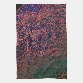 Kitchen Towels--Zentangle Web in Red