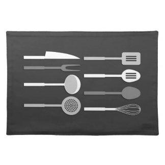 Kitchen Utensil Silhouettes Monochrome Cloth Placemat