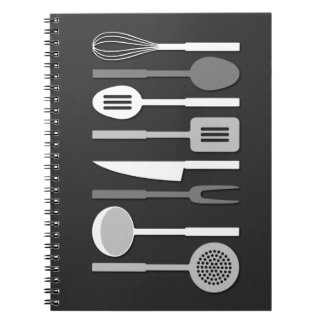 Kitchen Utensil Silhouettes Monochrome II Notebook