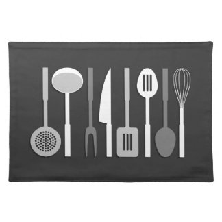 Kitchen Utensil Silhouettes Monochrome II Placemat