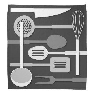 Kitchen Utensil Silhouettes Monochrome III Bandana