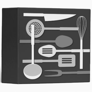 Kitchen Utensil Silhouettes Monochrome III Binder