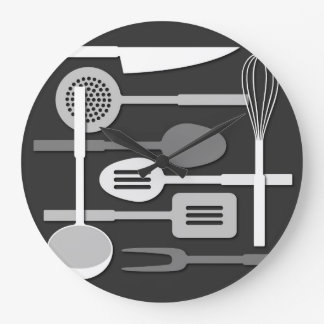 Kitchen Utensil Silhouettes Monochrome III Large Clock