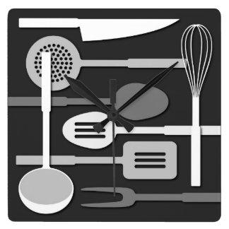 Kitchen Utensil Silhouettes Monochrome III Square Wall Clock