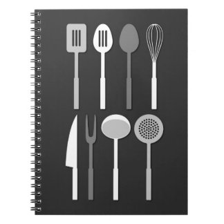 Kitchen Utensil Silhouettes Monochrome Spiral Note Books