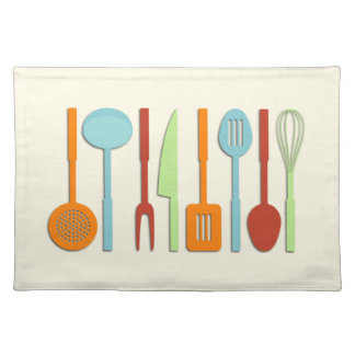 Kitchen Utensil Silhouettes ORBLC II Cloth Placemat