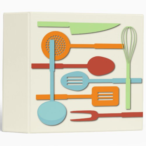 Kitchen Utensil Silhouettes ORBLC III 3 Ring Binder