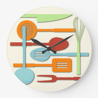 Kitchen Utensil Silhouettes ORBLC III Large Clock
