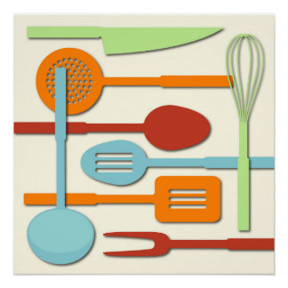 Kitchen Utensil Silhouettes ORBLC III Poster