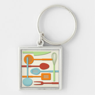 Kitchen Utensil Silhouettes ORBLC III Silver-Colored Square Keychain