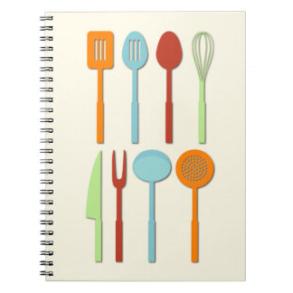 Kitchen Utensil Silhouettes ORBLC Spiral Notebooks
