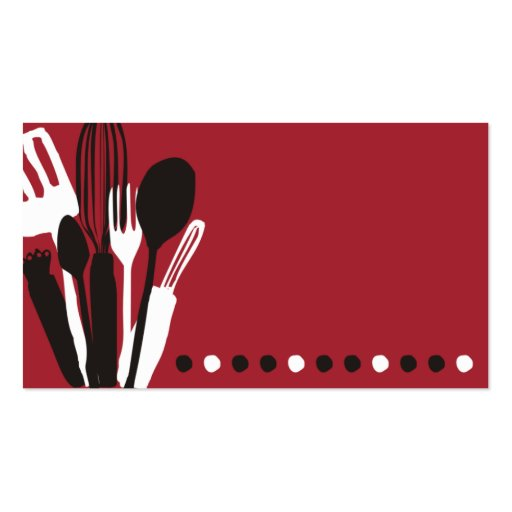 Kitchen Utensils Chef Catering Business Card Red Zazzle