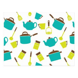 Kitchen Utensils, Cookware, Cutlery - Blue Green Postcard