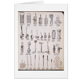 Kitchen utensils, from a trade catalogue of domest card