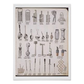 Kitchen utensils, from a trade catalogue of domest poster