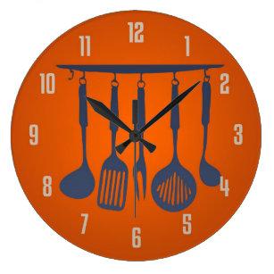 Kitchen Utensils Orange Kitchen Clock