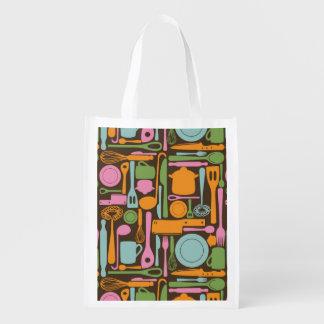 Kitchen Utensils Pattern 3 Reusable Grocery Bag