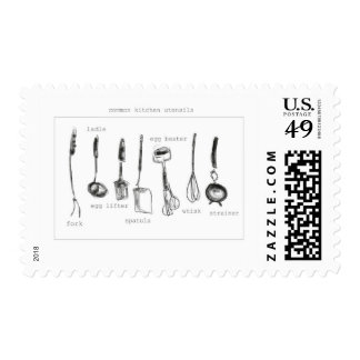 Kitchen utensils postage stamp