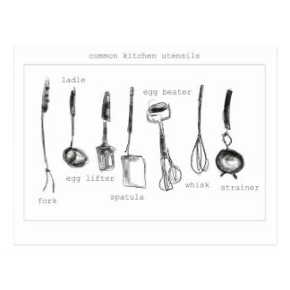 Kitchen utensils post card