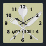 """Kitchen Utensils Square Wall Clock<br><div class=""""desc"""">Kitchen Utensils Square Wall Clock This Kitchen Utensils design features fork, spoon and knife. Customizable to add your own name and change the background color. Perfect for your kitchen. This wall clock is vibrantly printed with AcryliPrint&quot;HD process to ensure the highest quality display of any content. Order this custom round...</div>"""