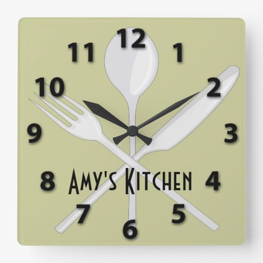 Kitchen Utensils Square Wall Clock