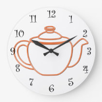 Kitchen wall clocks with an orange outlined tea kettle