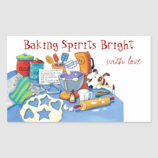 Kitchen Whimsy Holiday Baking Labels Rectangle Stickers