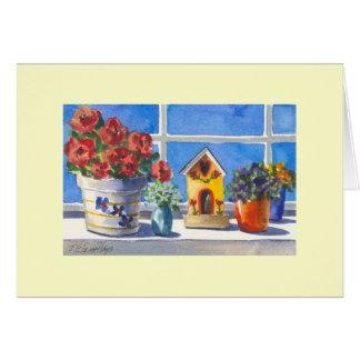 Kitchen Window Birdhouse & Flowers Card