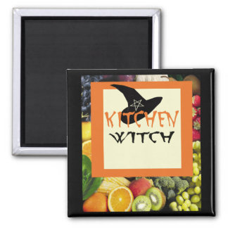 Kitchen Witch 2 Inch Square Magnet
