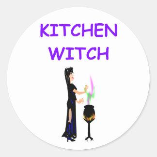 kitchen witch round sticker
