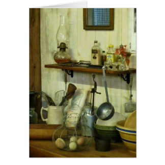 Kitchen With Wire Basket of Eggs Card