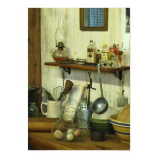 """Kitchen With Wire Basket of Eggs 5"""" X 7"""" Invitation Card"""