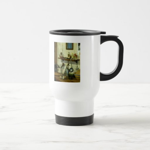 Kitchen With Wire Basket of Eggs Mugs