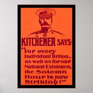 Kitchener dice el poster británico WW1 del vintage