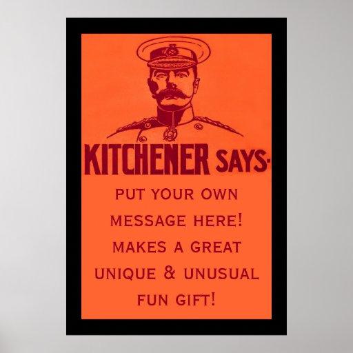Kitchener dice el vintage adaptable de la diversió póster