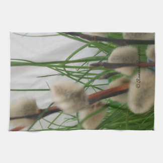 KitchenTowel-PussyWillowsInGrass. © Roseanne Pears Kitchen Towel