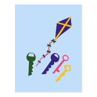 Kite and Keys Whimsical Cartoon Art Postcards