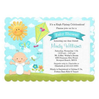 Kite Baby Shower Invitation Blue Boy