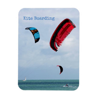 Kite boarding.  Three kite surfers Magnet