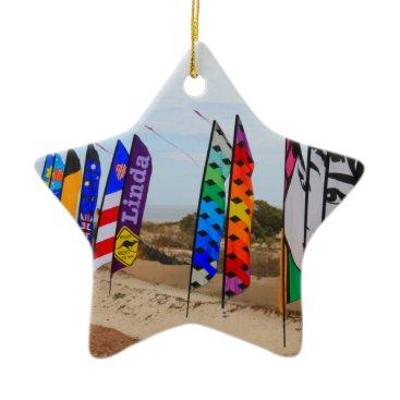 Kite festival flags ceramic ornament